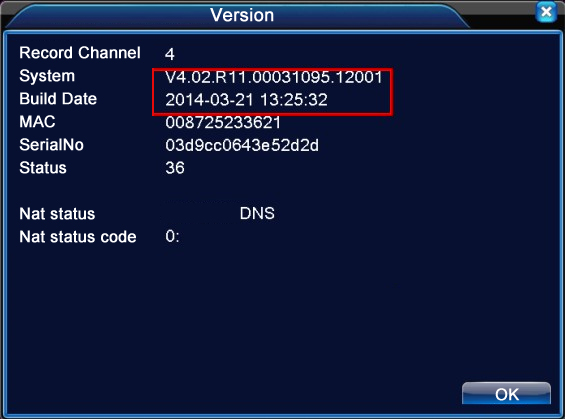 DVR / NVR Sistem Sürümü