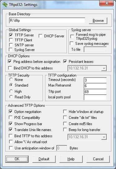 Настройки сервера tftpd32