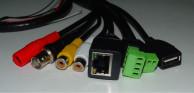 Кабель хвост IP камеры чёрный 70см (UTP4/12В, USB/BNC/2xRCA/RS485/Alarm)